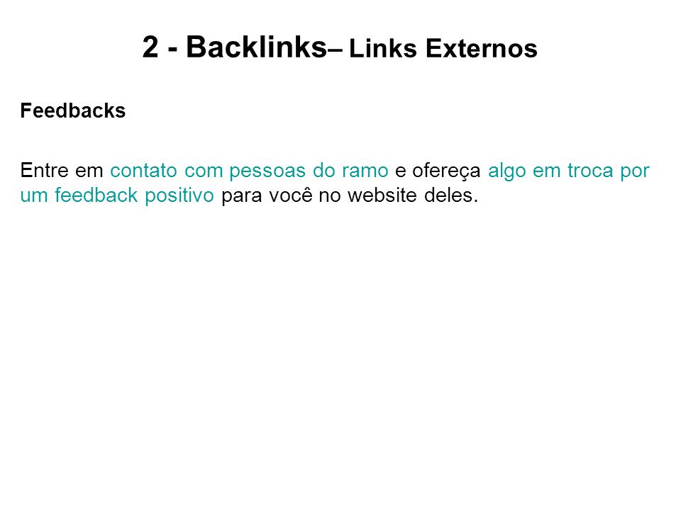 2 - Backlinks– Links Externos