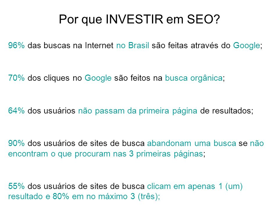 Por que INVESTIR em SEO 96% das buscas na Internet no Brasil são feitas através do Google; 70% dos cliques no Google são feitos na busca orgânica;