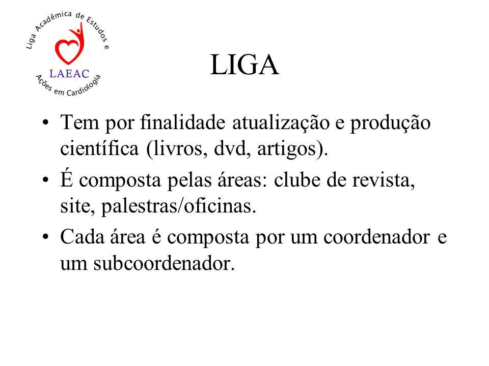 LIGA Tem por finalidade atualização e produção científica (livros, dvd, artigos).