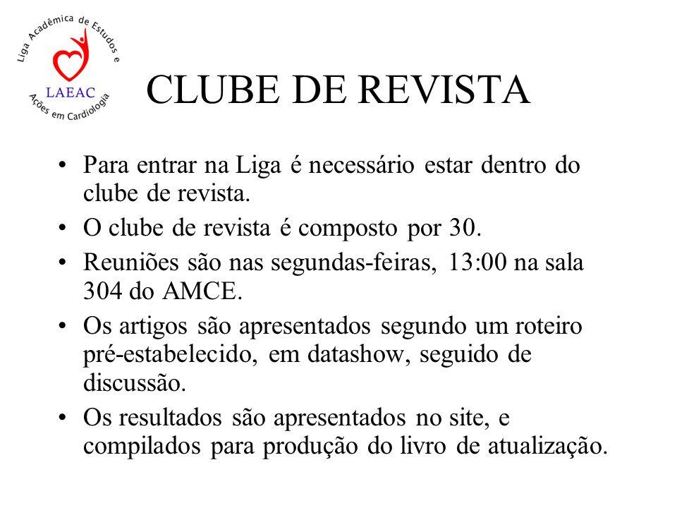 CLUBE DE REVISTA Para entrar na Liga é necessário estar dentro do clube de revista. O clube de revista é composto por 30.