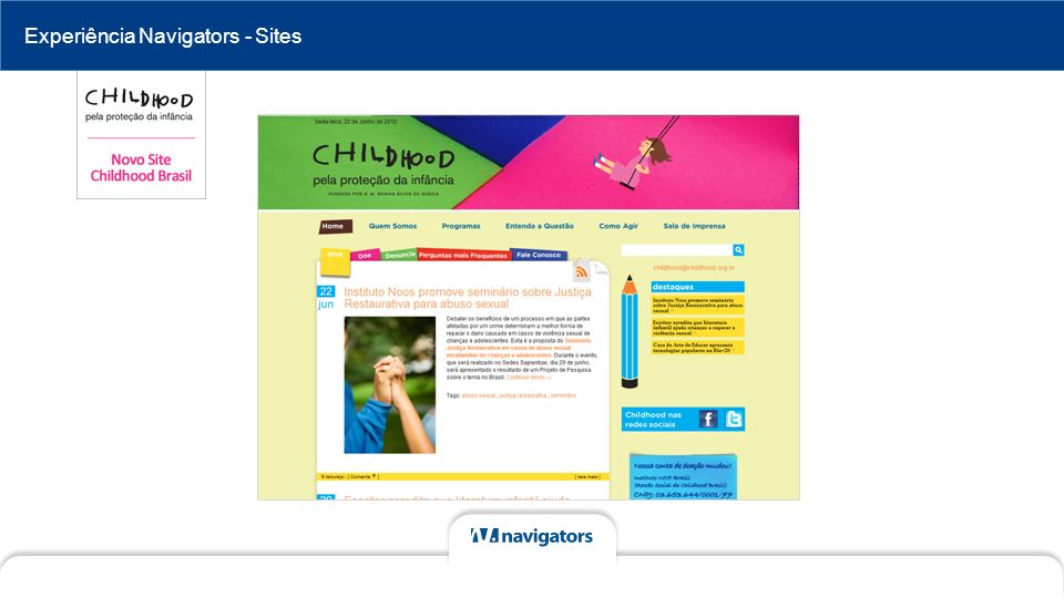 Experiência Navigators - Sites