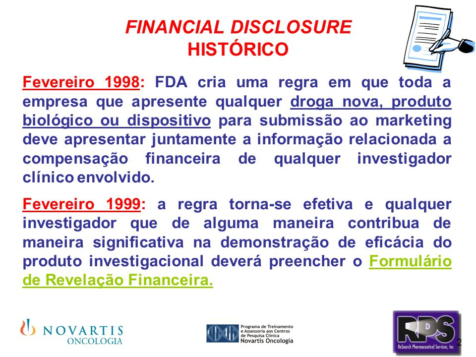 FINANCIAL DISCLOSURE HISTÓRICO