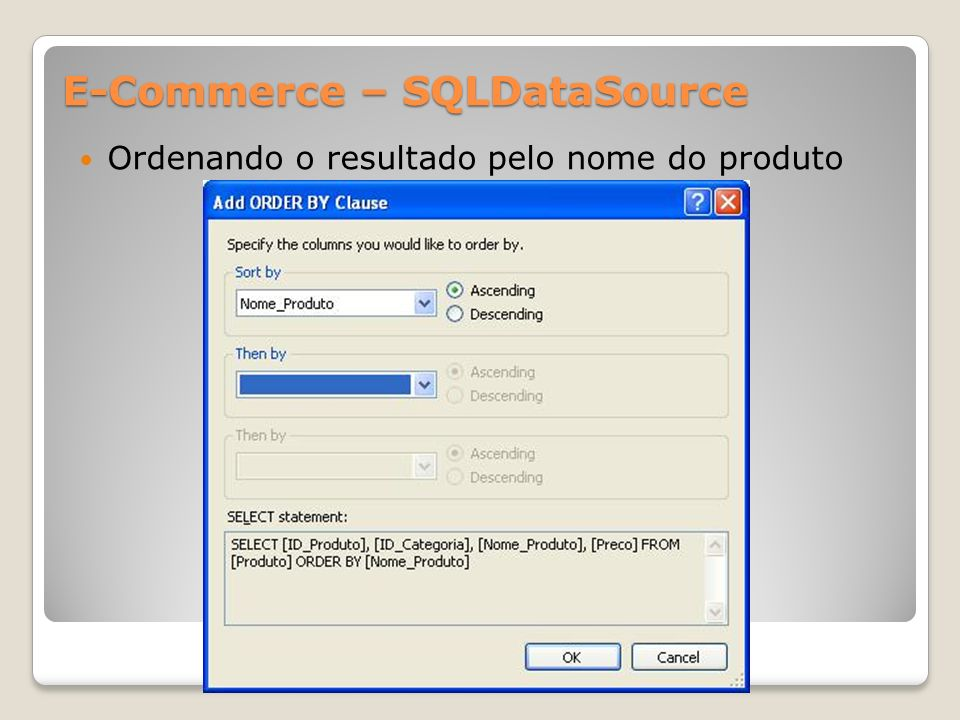 E-Commerce – SQLDataSource