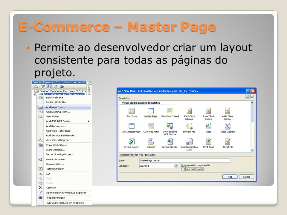E-Commerce – Master Page