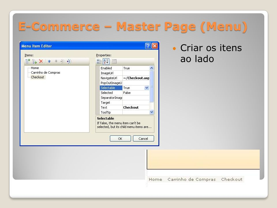 E-Commerce – Master Page (Menu)