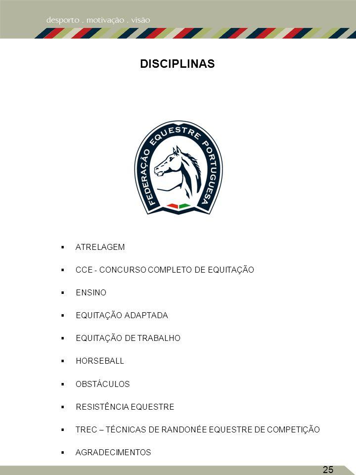 DISCIPLINAS ATRELAGEM CCE - CONCURSO COMPLETO DE EQUITAÇÃO ENSINO