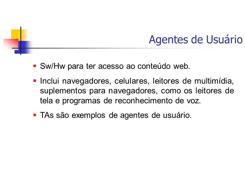 Agentes de Usuário Sw/Hw para ter acesso ao conteúdo web.