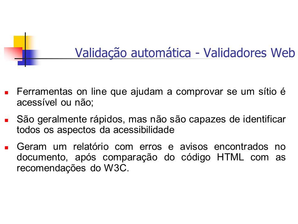 Validação automática - Validadores Web