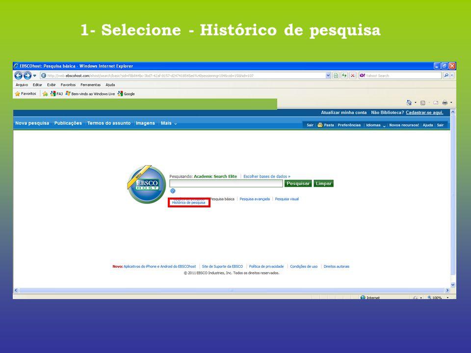 1- Selecione - Histórico de pesquisa