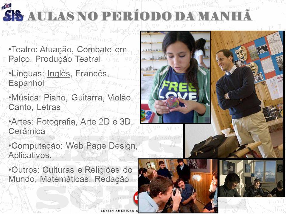 AULAS NO PERÍODO DA MANHÃ