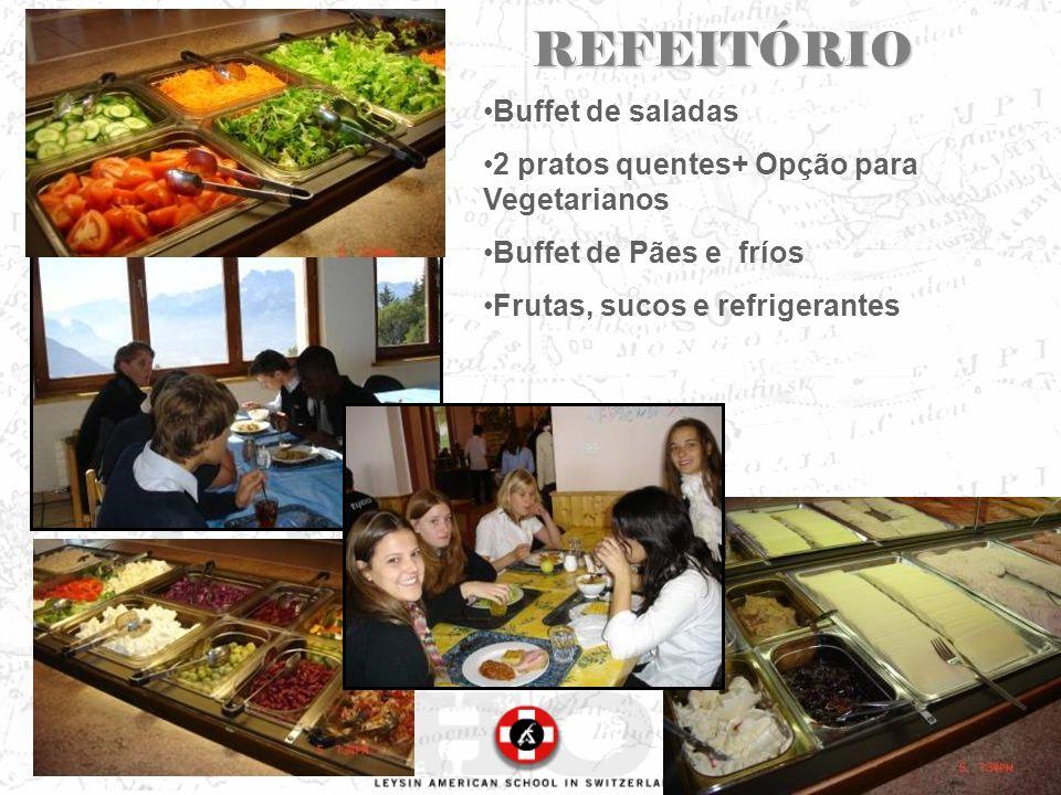 REFEITÓRIO Buffet de saladas 2 pratos quentes+ Opção para Vegetarianos