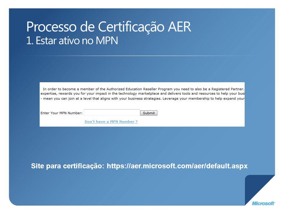 Processo de Certificação AER 1. Estar ativo no MPN