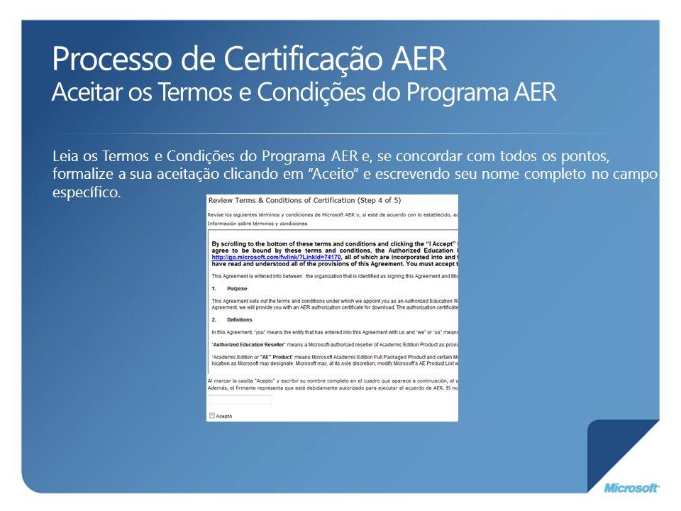 Processo de Certificação AER Aceitar os Termos e Condições do Programa AER