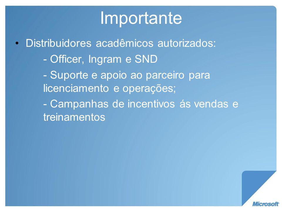 Importante Distribuidores acadêmicos autorizados: