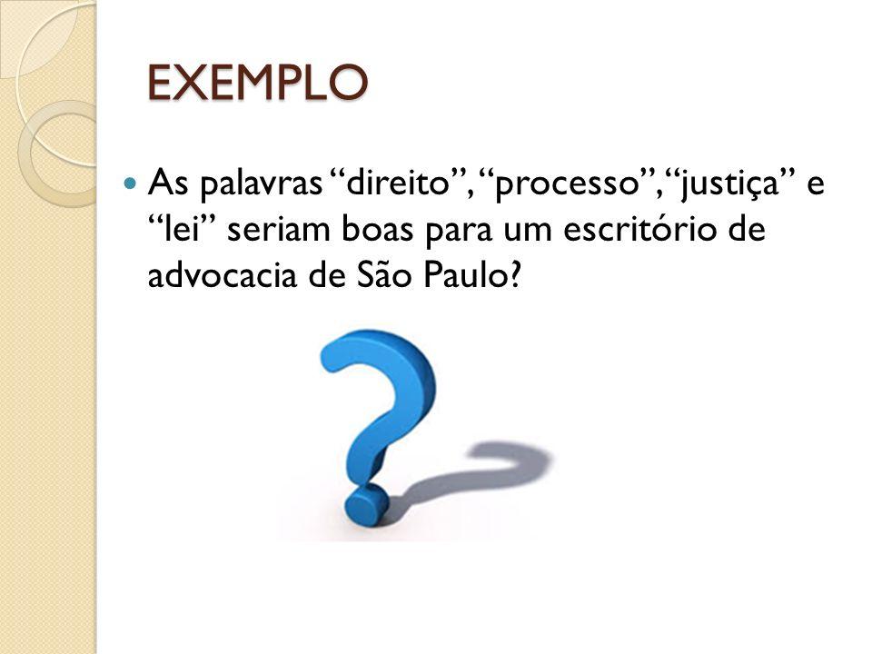 EXEMPLO As palavras direito , processo , justiça e lei seriam boas para um escritório de advocacia de São Paulo