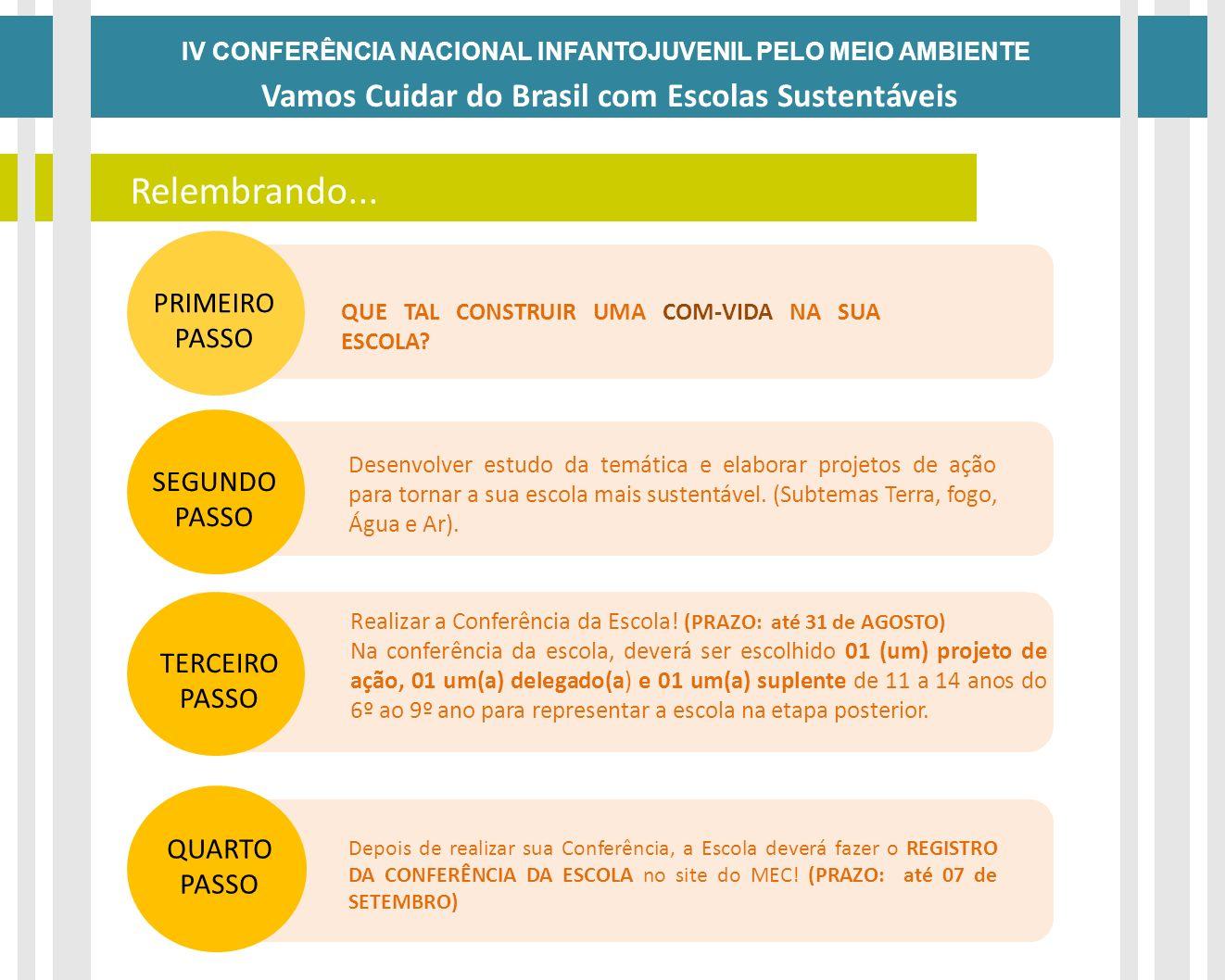 Relembrando... Vamos Cuidar do Brasil com Escolas Sustentáveis DATAS