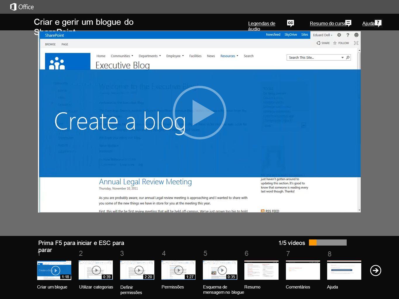 Criar e gerir um blogue do SharePoint