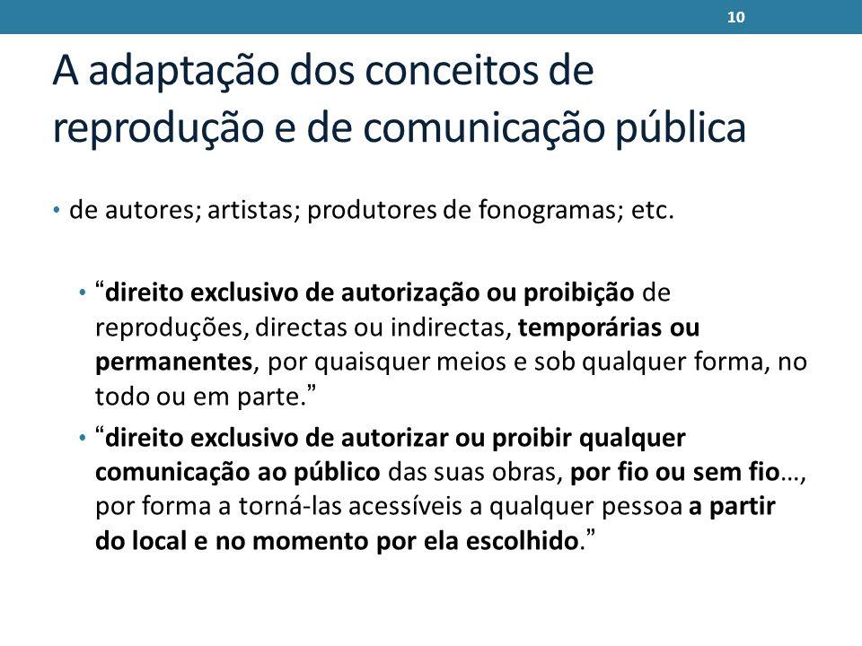 A adaptação dos conceitos de reprodução e de comunicação pública