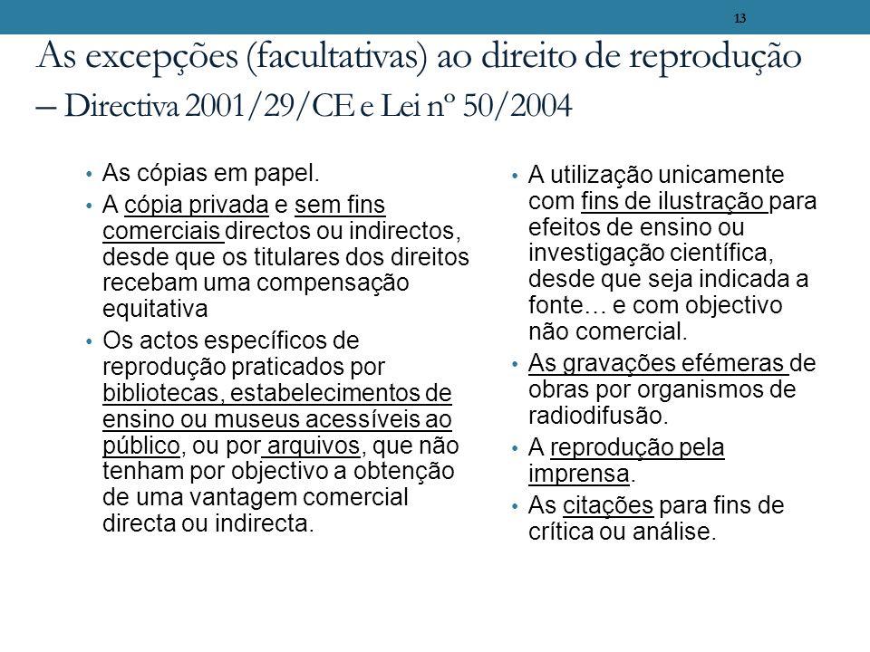 As excepções (facultativas) ao direito de reprodução – Directiva 2001/29/CE e Lei nº 50/2004