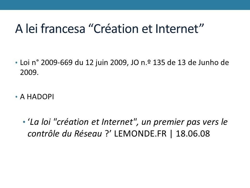 A lei francesa Création et Internet