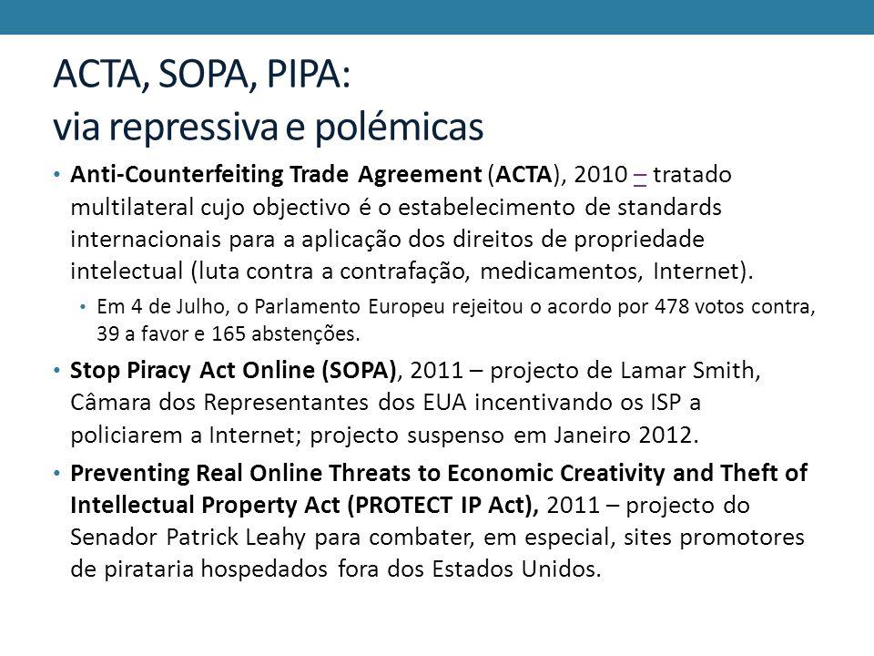 ACTA, SOPA, PIPA: via repressiva e polémicas