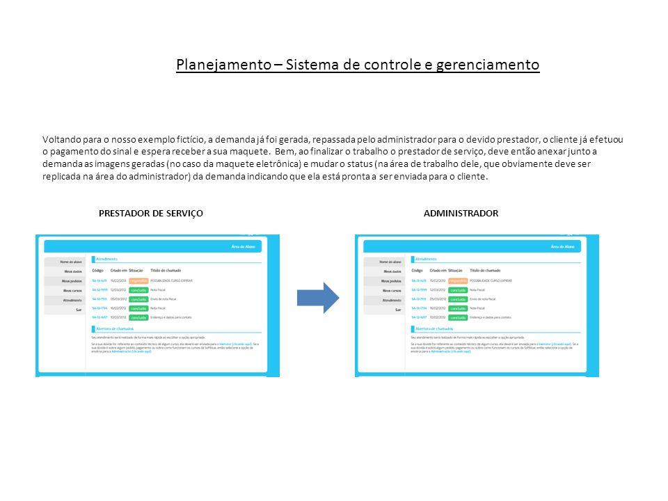 Planejamento – Sistema de controle e gerenciamento