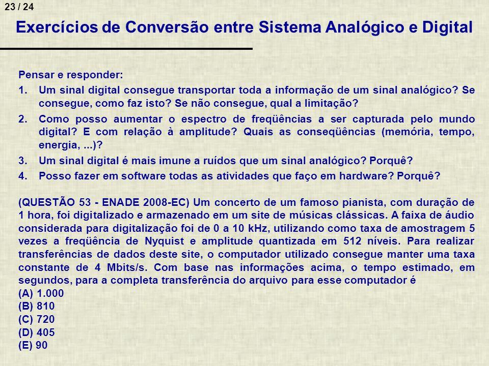 Exercícios de Conversão entre Sistema Analógico e Digital