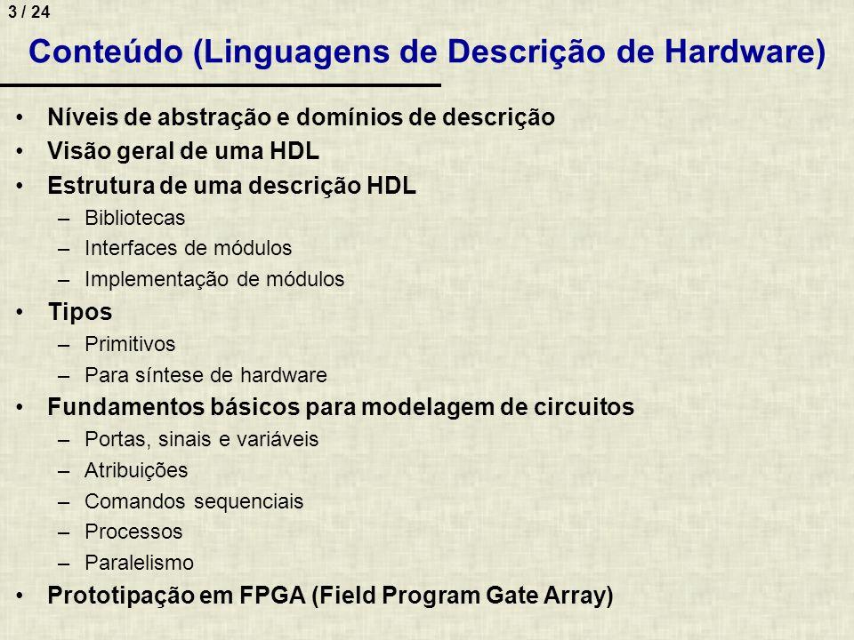 Conteúdo (Linguagens de Descrição de Hardware)