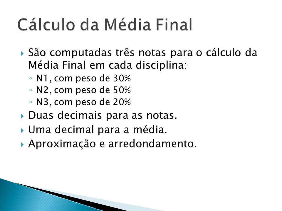 Cálculo da Média Final São computadas três notas para o cálculo da Média Final em cada disciplina: