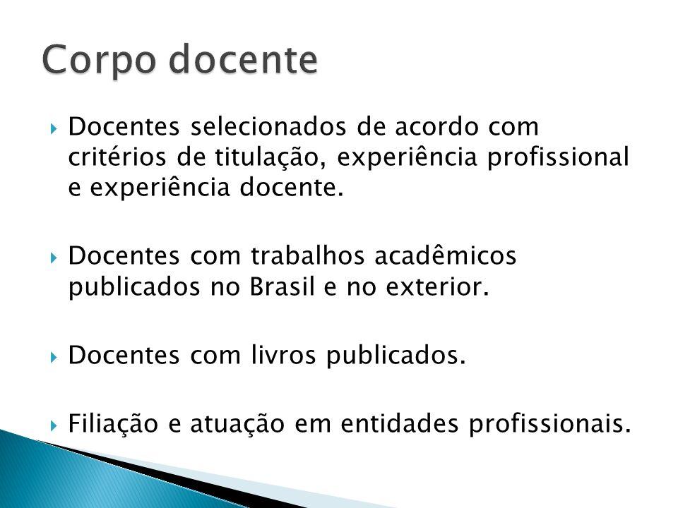 Corpo docente Docentes selecionados de acordo com critérios de titulação, experiência profissional e experiência docente.