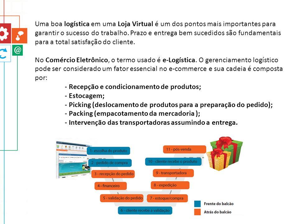 Uma boa logística em uma Loja Virtual é um dos pontos mais importantes para garantir o sucesso do trabalho. Prazo e entrega bem sucedidos são fundamentais para a total satisfação do cliente.