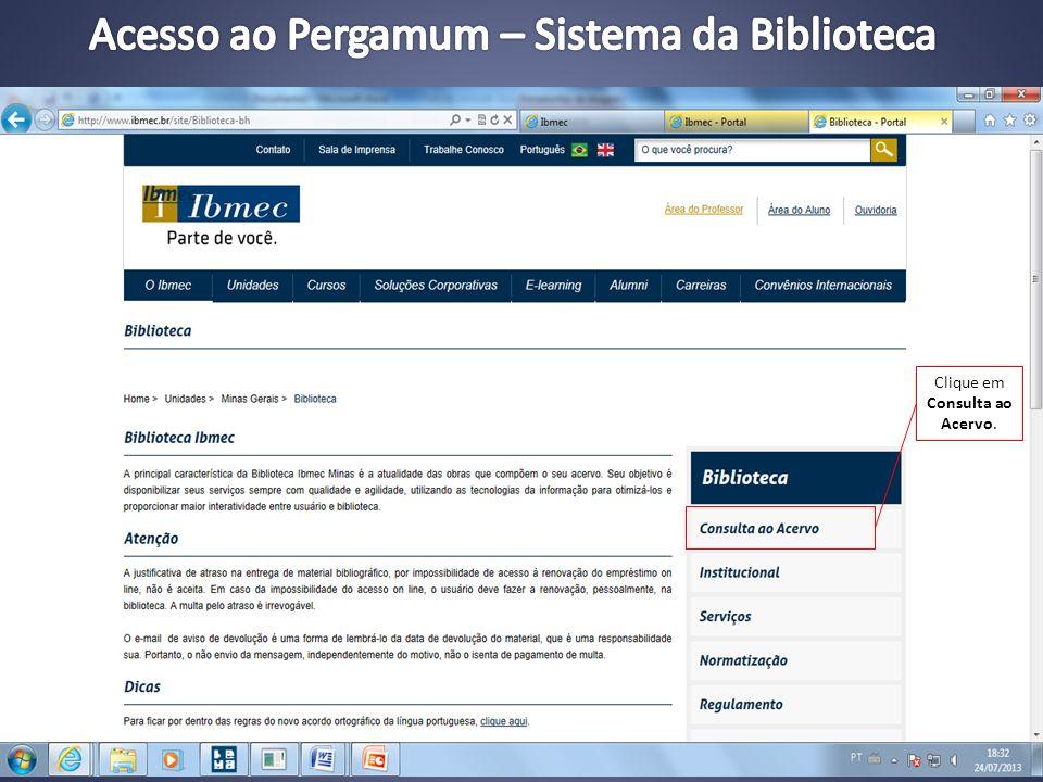 Acesso ao Pergamum – Sistema da Biblioteca