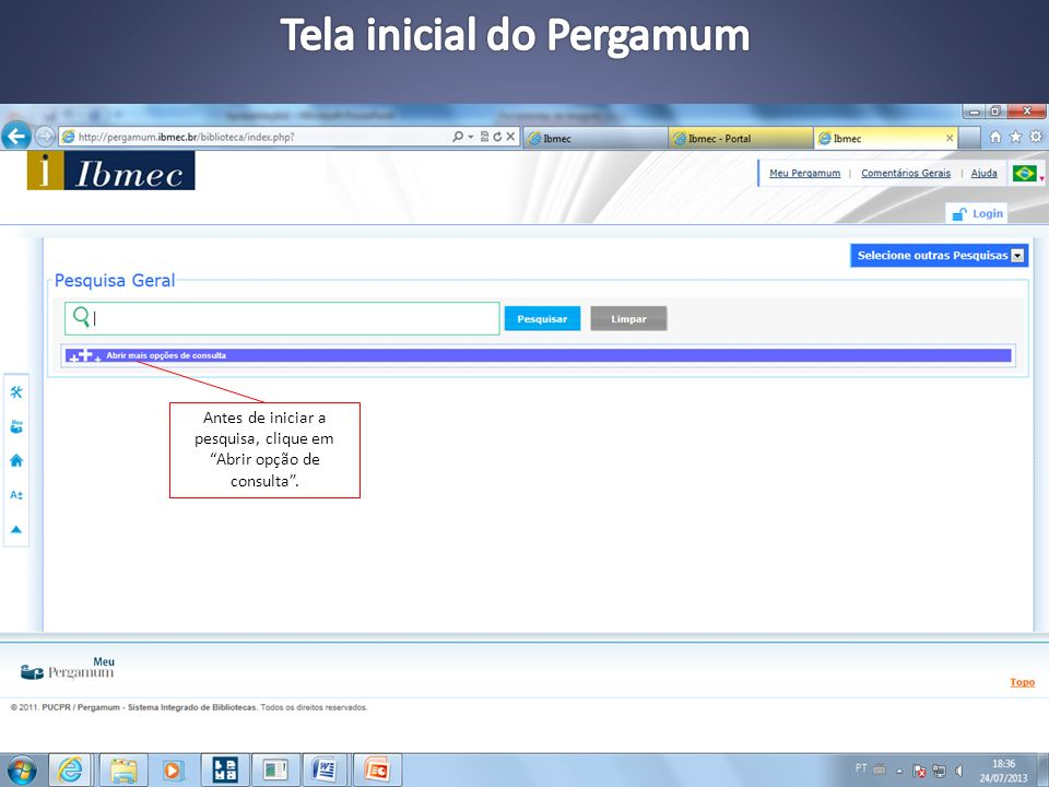 Tela inicial do Pergamum