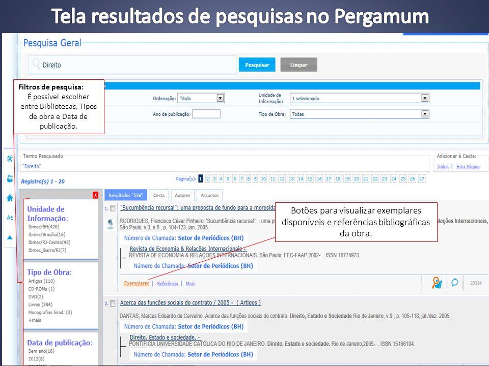 Tela resultados de pesquisas no Pergamum