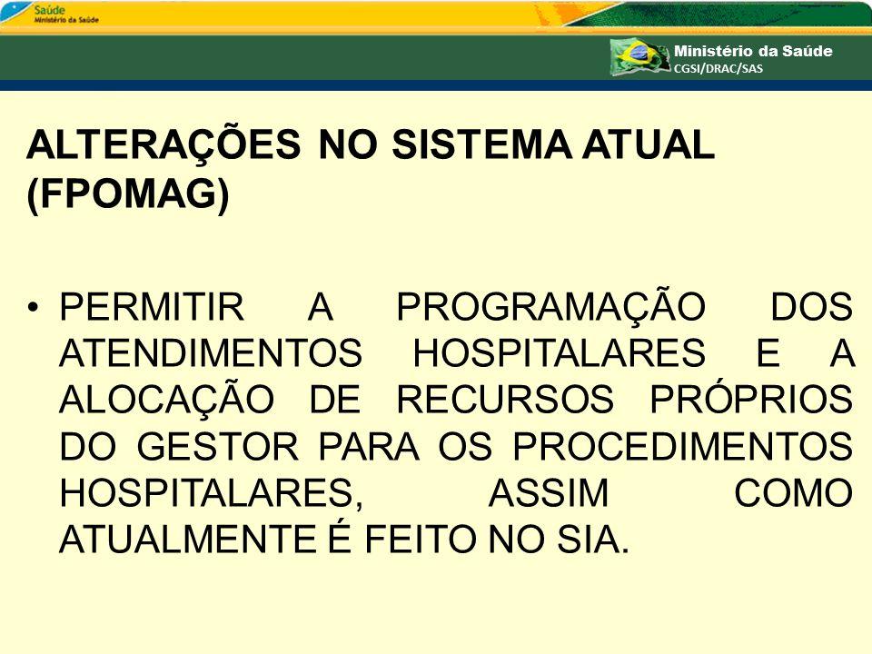 ALTERAÇÕES NO SISTEMA ATUAL (FPOMAG)