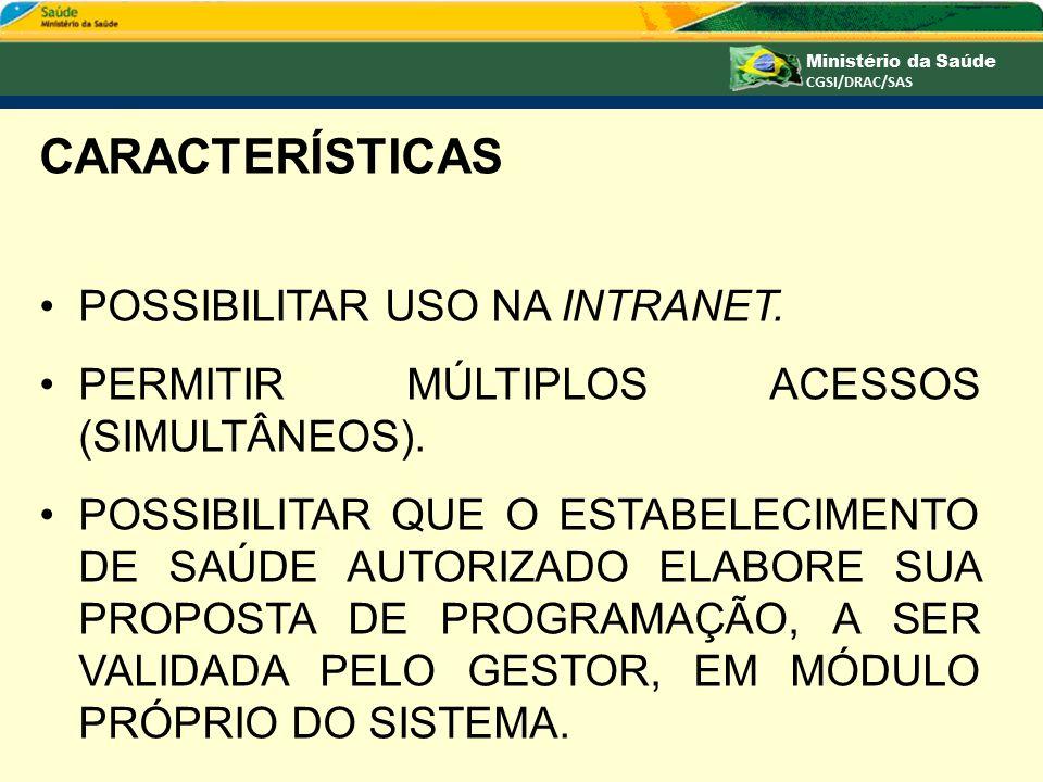 CARACTERÍSTICAS POSSIBILITAR USO NA INTRANET.
