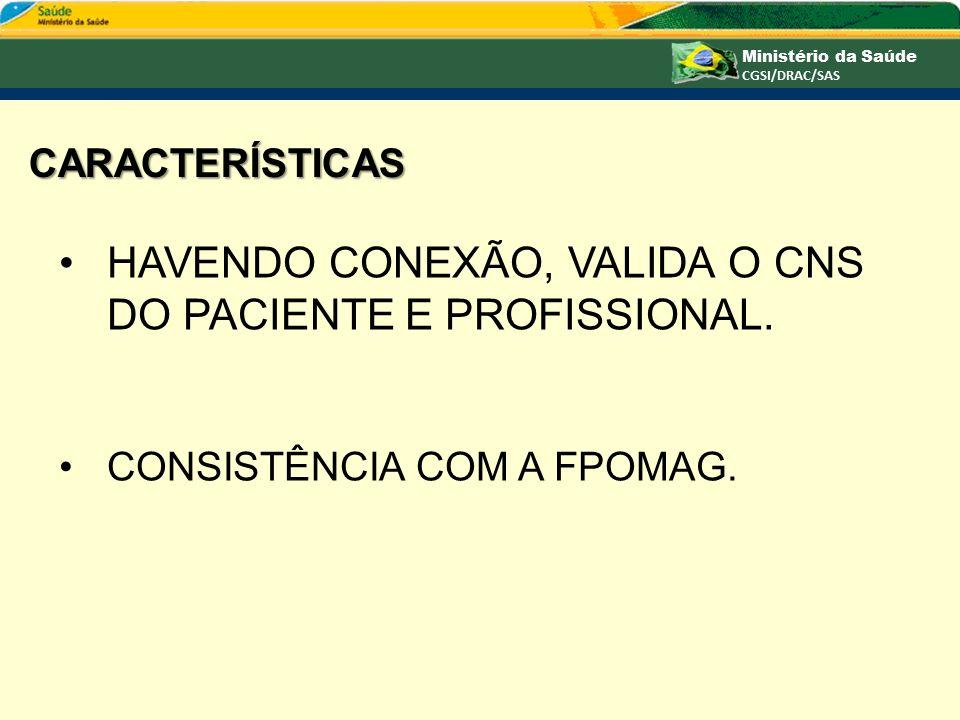 Havendo CONEXÃO, VALIDA O CNS DO PACIENTE E PROFISSIONAL.