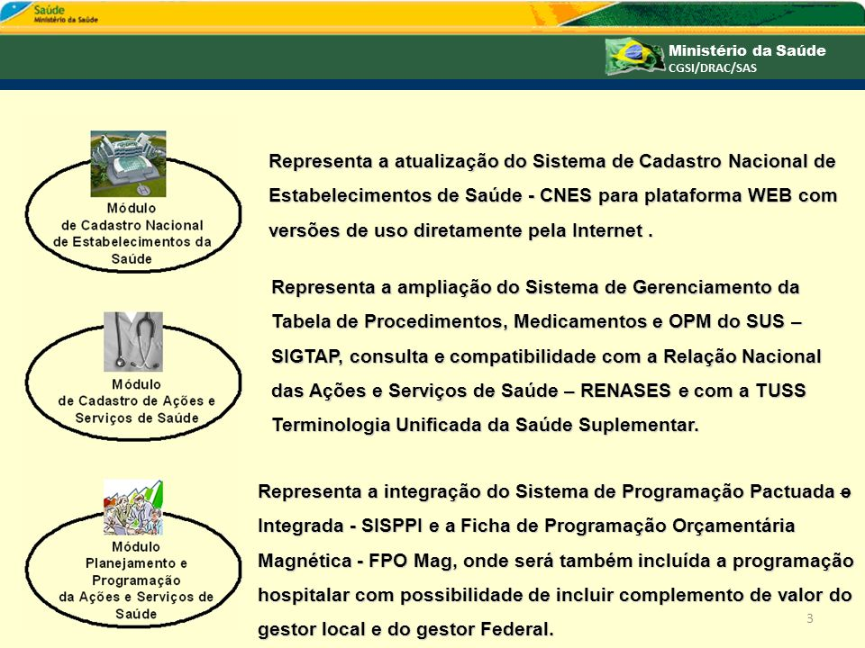 Representa a atualização do Sistema de Cadastro Nacional de Estabelecimentos de Saúde - CNES para plataforma WEB com versões de uso diretamente pela Internet .