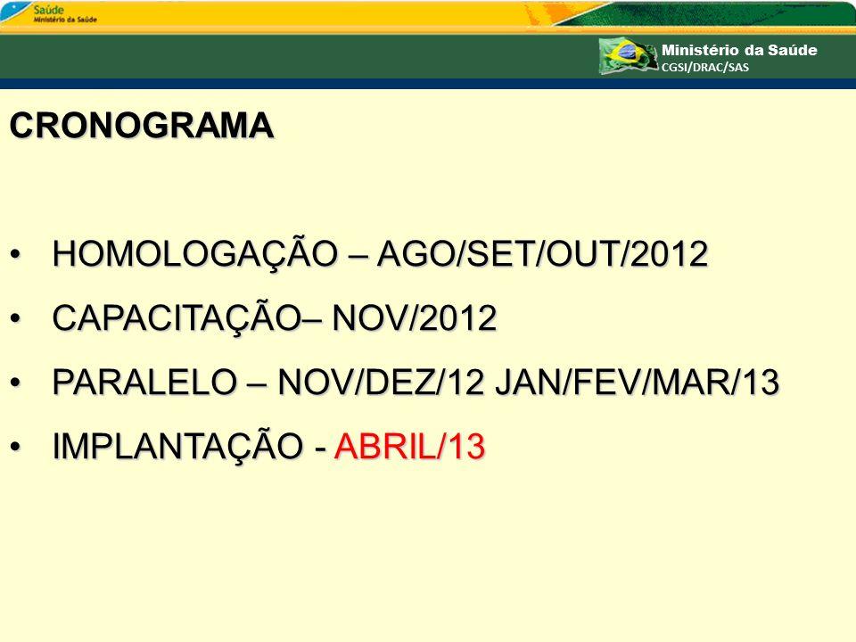 CRONOGRAMA HOMOLOGAÇÃO – AGO/SET/OUT/2012. CAPACITAÇÃO– NOV/2012. PARALELO – NOV/DEZ/12 JAN/FEV/MAR/13.