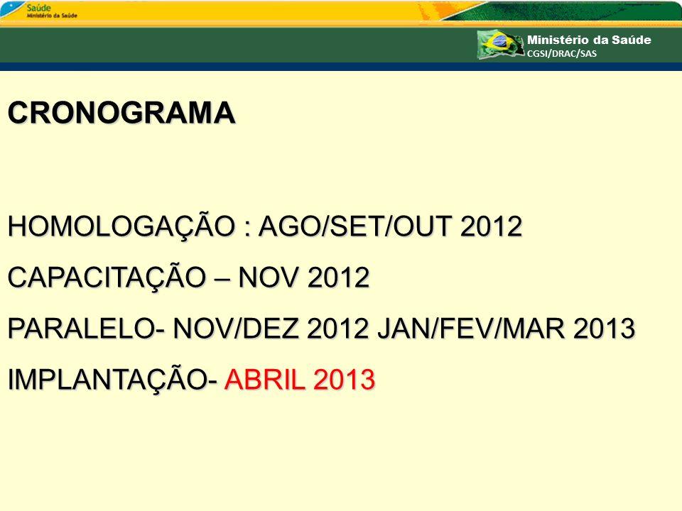 CRONOGRAMA HOMOLOGAÇÃO : AGO/SET/OUT 2012 CAPACITAÇÃO – NOV 2012