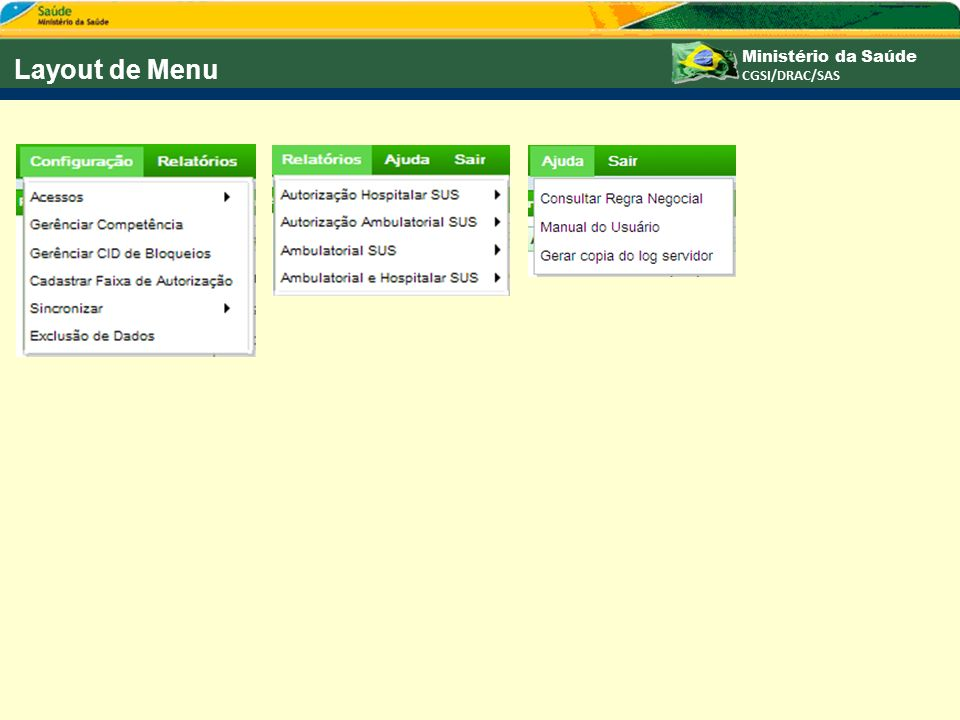 Layout de Menu