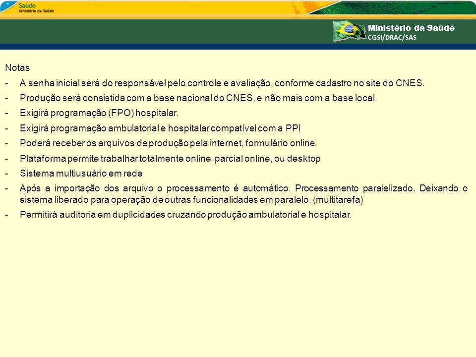 Notas A senha inicial será do responsável pelo controle e avaliação, conforme cadastro no site do CNES.