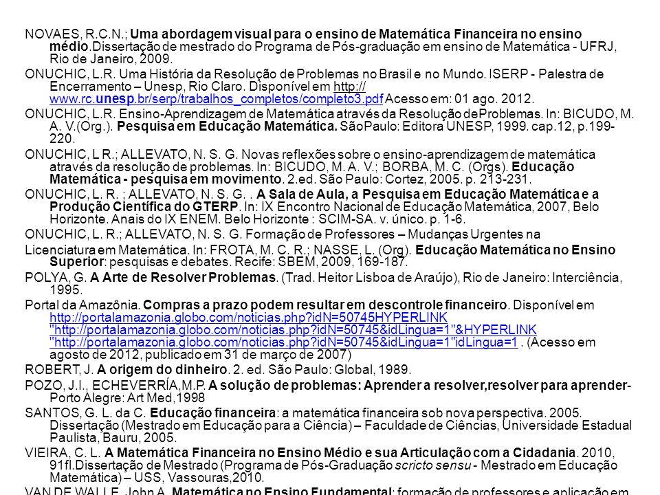 NOVAES, R.C.N.; Uma abordagem visual para o ensino de Matemática Financeira no ensino médio.Dissertação de mestrado do Programa de Pós-graduação em ensino de Matemática - UFRJ, Rio de Janeiro, 2009.