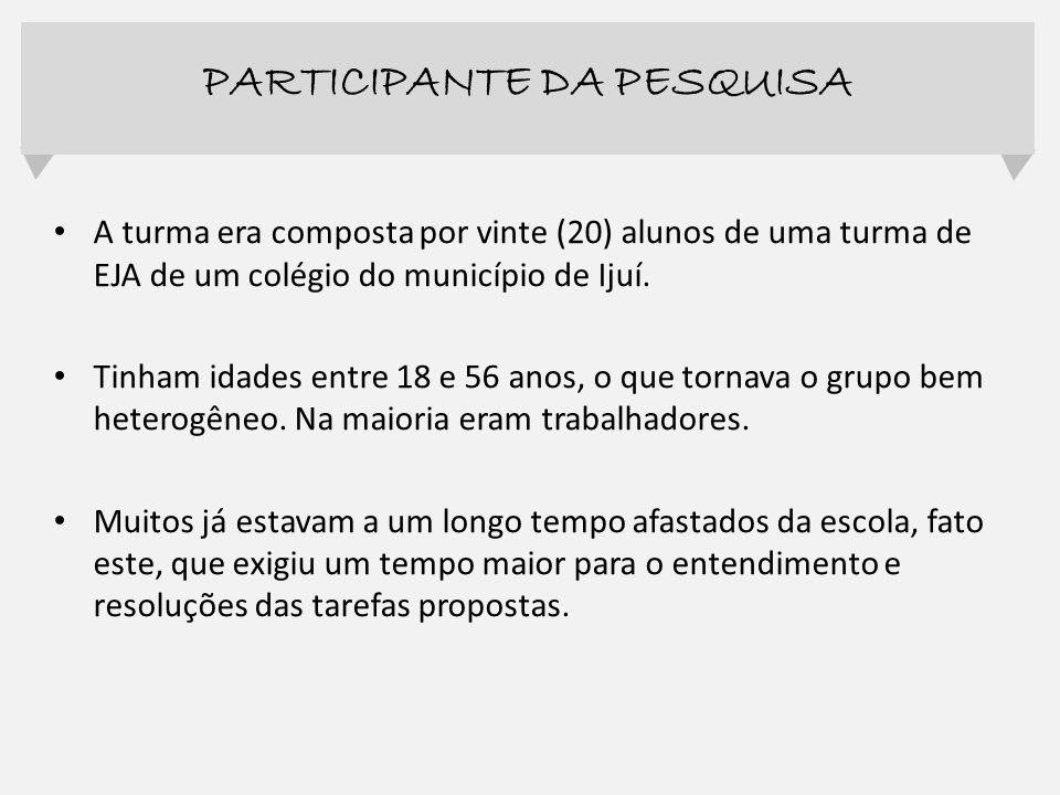 PARTICIPANTE DA PESQUISA