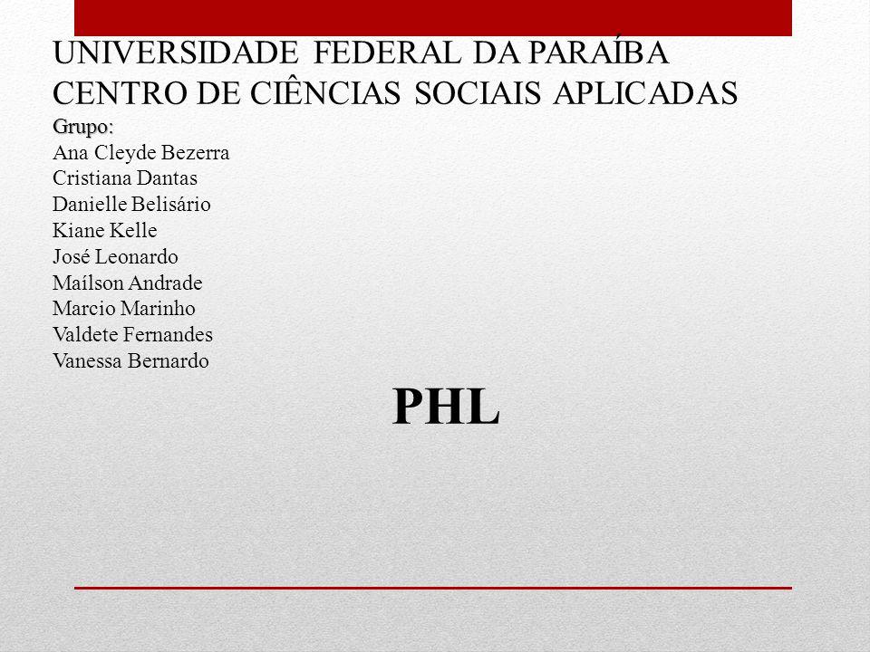 PHL UNIVERSIDADE FEDERAL DA PARAÍBA
