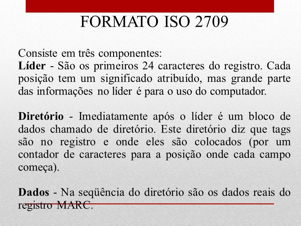 FORMATO ISO 2709 Consiste em três componentes:
