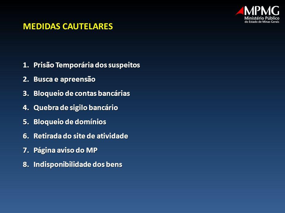 MEDIDAS CAUTELARES Prisão Temporária dos suspeitos Busca e apreensão