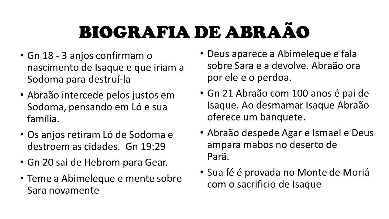 BIOGRAFIA DE ABRAÃO Deus aparece a Abimeleque e fala sobre Sara e a devolve. Abraão ora por ele e o perdoa.