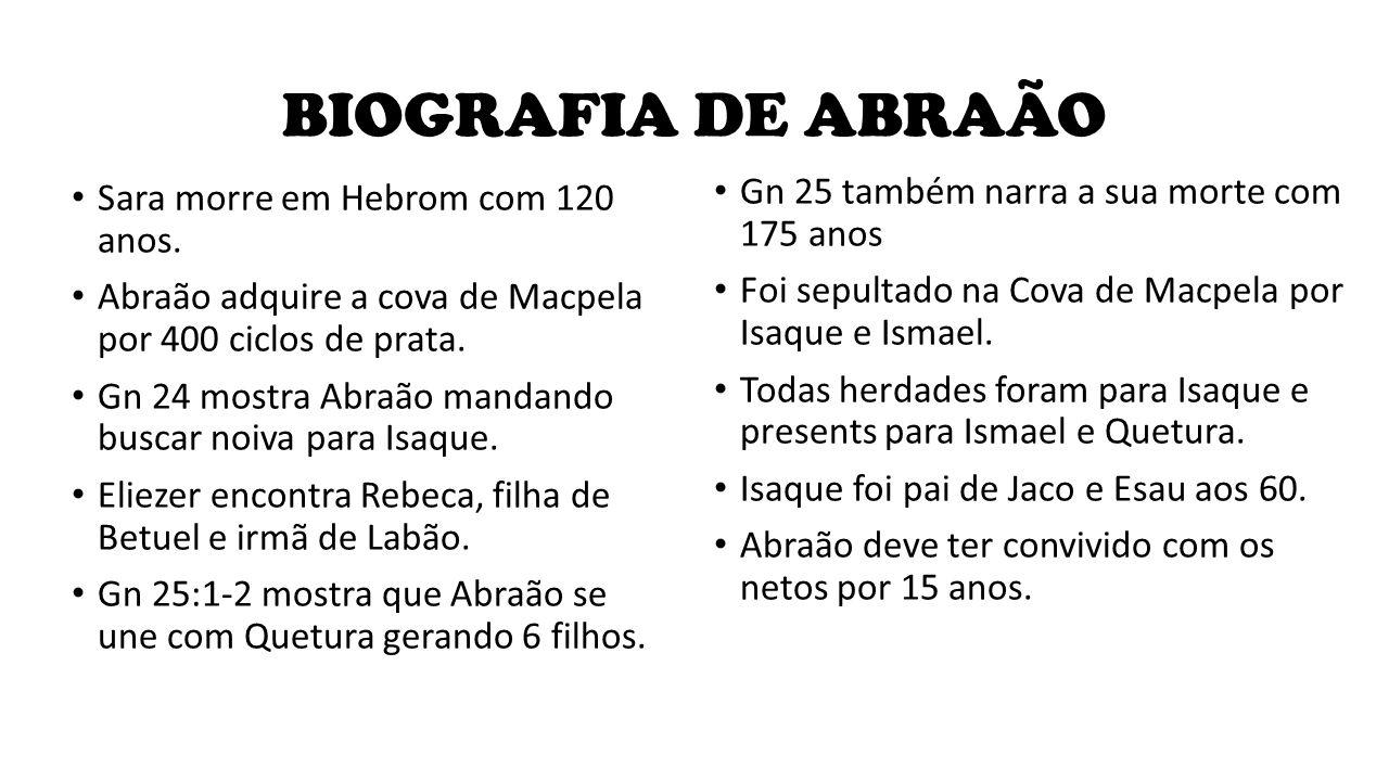 BIOGRAFIA DE ABRAÃO Gn 25 também narra a sua morte com 175 anos