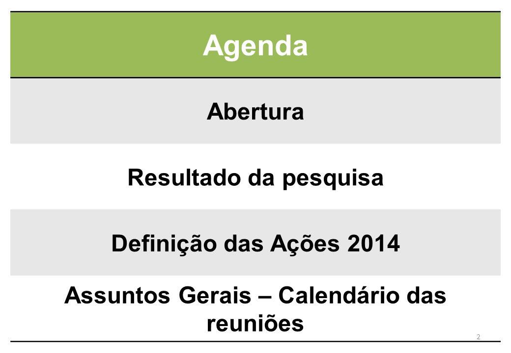 Assuntos Gerais – Calendário das reuniões